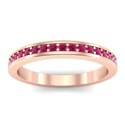 Light Flat-Sided Pave Ruby Eternity Ring (0.63 Carat)
