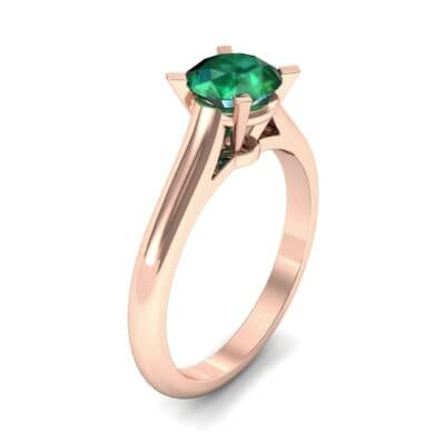 Classic Cathedral Solitaire Emerald Engagement Ring (0.84 CTW) Perspective View