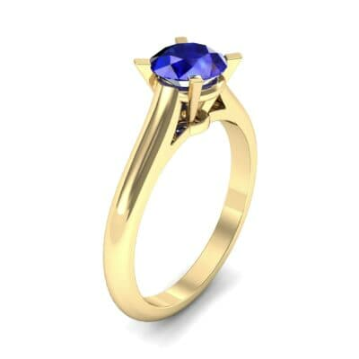 Classic Cathedral Solitaire Blue Sapphire Engagement Ring (0.84 CTW) Perspective View
