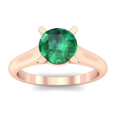 Classic Cathedral Solitaire Emerald Engagement Ring (0.84 Carat)