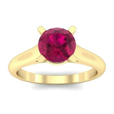 Classic Cathedral Solitaire Ruby Engagement Ring (0.84 Carat)