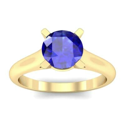 Classic Cathedral Solitaire Blue Sapphire Engagement Ring (0.84 Carat)