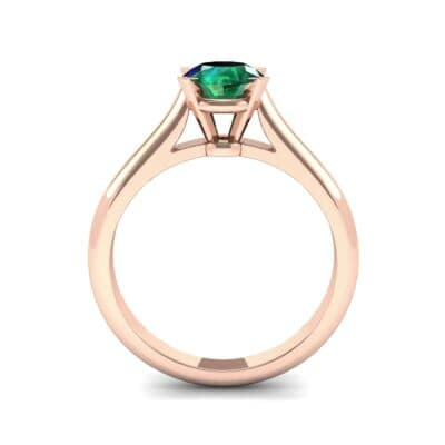 Classic Cathedral Solitaire Emerald Engagement Ring (0.84 CTW) Side View