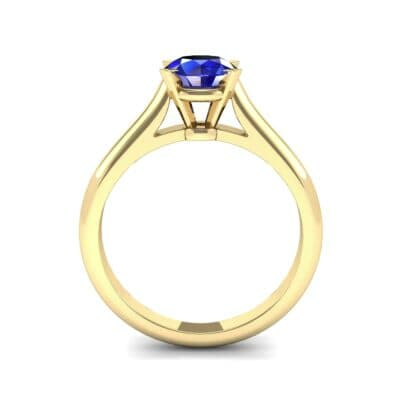 Classic Cathedral Solitaire Blue Sapphire Engagement Ring (0.84 CTW) Side View