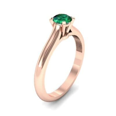 Petite Cathedral Solitaire Emerald Engagement Ring (0.47 CTW) Perspective View