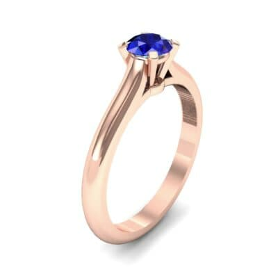 Petite Cathedral Solitaire Blue Sapphire Engagement Ring (0.47 CTW) Perspective View