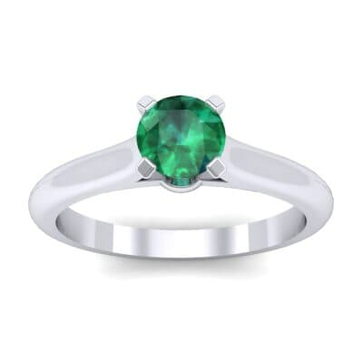 Petite Cathedral Solitaire Emerald Engagement Ring (0.47 CTW) Top Dynamic View