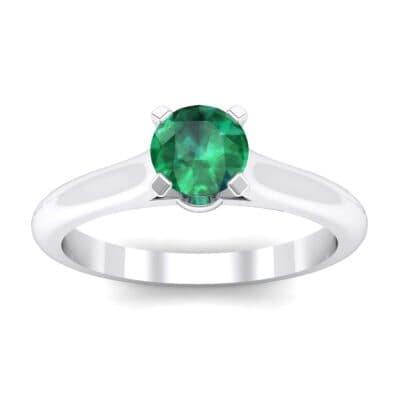 Petite Cathedral Solitaire Emerald Engagement Ring (0.47 Carat)
