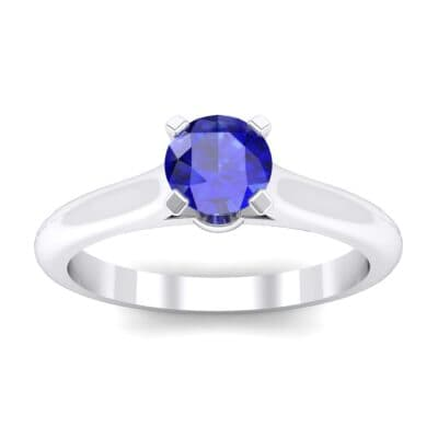 Petite Cathedral Solitaire Blue Sapphire Engagement Ring (0.47 Carat)