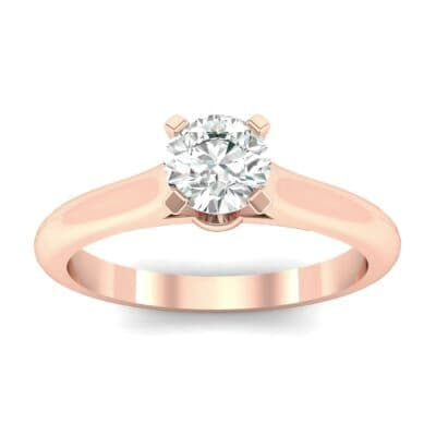 Petite Cathedral Solitaire Diamond Engagement Ring (0.44 Carat)