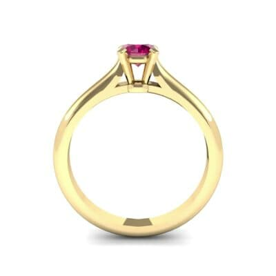 Petite Cathedral Solitaire Ruby Engagement Ring (0.47 CTW) Side View