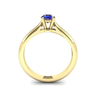 Petite Cathedral Solitaire Blue Sapphire Engagement Ring (0.47 CTW) Side View