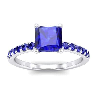 Princess-Cut Blue Sapphire Engagement Ring (1.13 Carat)