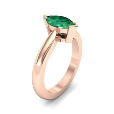 Flat Shank Marquise Solitaire Emerald Engagement Ring (0.75 CTW) Perspective View