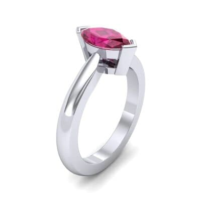 Flat Shank Marquise Solitaire Ruby Engagement Ring (0.75 CTW) Perspective View
