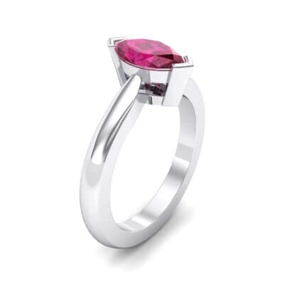 Flat Shank Marquise Solitaire  Ruby Engagement Ring (0.75 Carat)