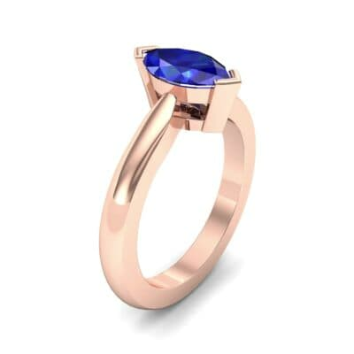 Flat Shank Marquise Solitaire Blue Sapphire Engagement Ring (0.75 CTW) Perspective View