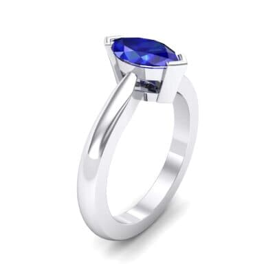 Flat Shank Marquise Solitaire  Blue Sapphire Engagement Ring (0.75 Carat)