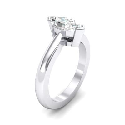 Flat Shank Marquise Solitaire Crystal Engagement Ring (0.47 CTW)