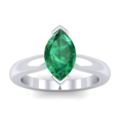 Flat Shank Marquise Solitaire Emerald Engagement Ring (0.75 CTW) Top Dynamic View