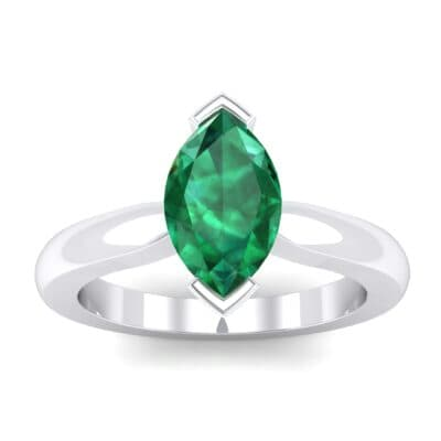 Flat Shank Marquise Solitaire  Emerald Engagement Ring (0.75 Carat)