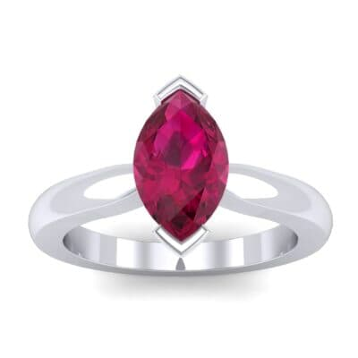 Flat Shank Marquise Solitaire Ruby Engagement Ring (0.75 CTW) Top Dynamic View