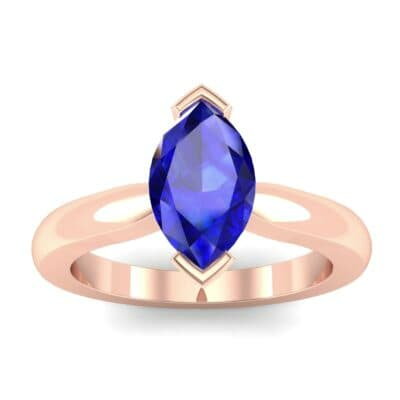 Flat Shank Marquise Solitaire Blue Sapphire Engagement Ring (0.75 CTW) Top Dynamic View