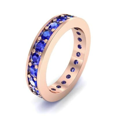 Luxe Flat-Sided Pave Blue Sapphire Eternity Ring (2.07 Carat)