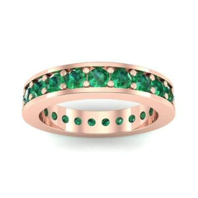 Luxe Flat-Sided Pave Emerald Eternity Ring (2.07 Carat)