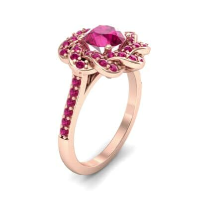 Woven Halo Ruby Engagement Ring (1.28 Carat)