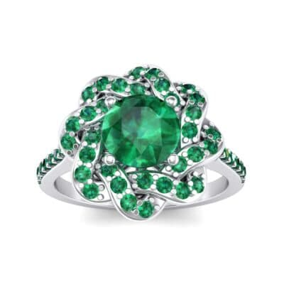 Woven Halo Emerald Engagement Ring (1.28 Carat)