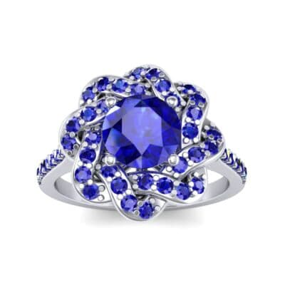Woven Halo Blue Sapphire Engagement Ring (1.28 Carat)