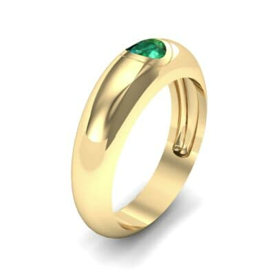 Rounded Two-Tone Burnish-Set Emerald Wedding Ring (0.38 Carat)