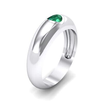 Rounded Two-Tone Burnish-Set Emerald Wedding Ring (0.38 Carat)