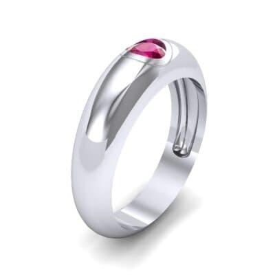 Rounded Two-Tone Burnish-Set Ruby Wedding Ring (0.38 Carat)