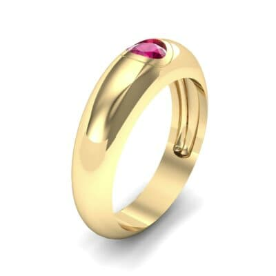 Rounded Two-Tone Burnish-Set Ruby Wedding Ring (0.38 CTW) Perspective View