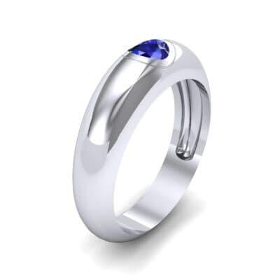 Rounded Two-Tone Burnish-Set Blue Sapphire Wedding Ring (0.38 Carat)
