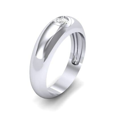Rounded Two-Tone Burnish-Set Diamond Wedding Ring (0.28 CTW) Perspective View