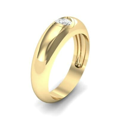 Rounded Two-Tone Burnish-Set Diamond Wedding Ring (0.28 Carat)