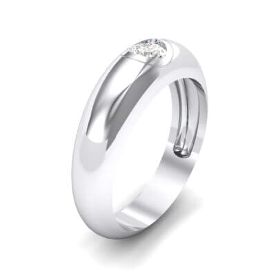 Rounded Two-Tone Burnish-Set Crystals Wedding Ring (0.28 Carat)