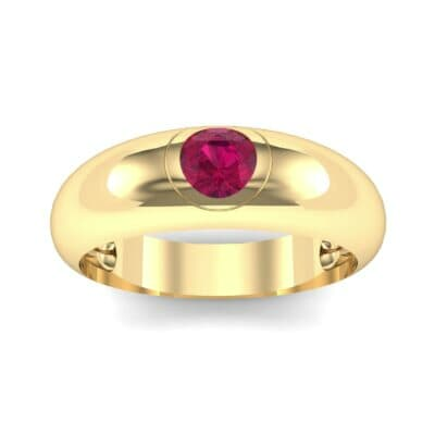Rounded Two-Tone Burnish-Set Ruby Wedding Ring (0.38 CTW) Top Dynamic View