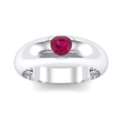 Rounded Two-Tone Burnish-Set Ruby Wedding Ring (0.38 Carat)