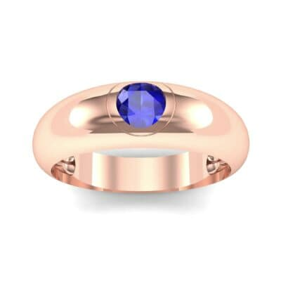 Rounded Two-Tone Burnish-Set Blue Sapphire Wedding Ring (0.38 Carat)