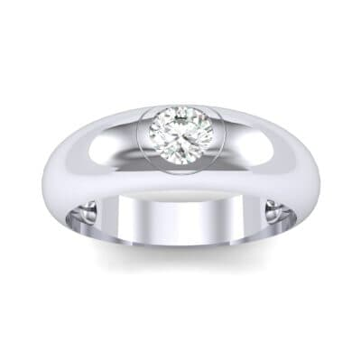 Rounded Two-Tone Burnish-Set Diamond Wedding Ring (0.28 CTW) Top Dynamic View