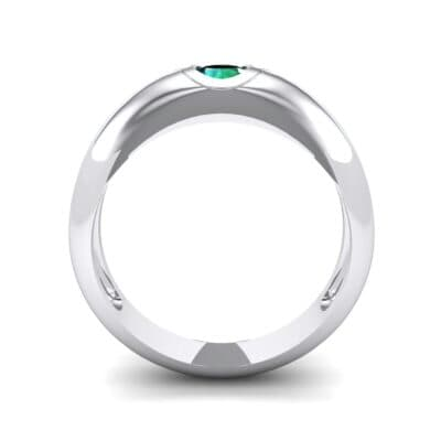 Rounded Two-Tone Burnish-Set Emerald Wedding Ring (0.38 CTW) Side View
