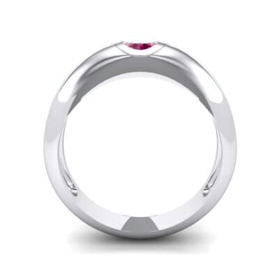 Rounded Two-Tone Burnish-Set Ruby Wedding Ring (0.38 CTW) Side View