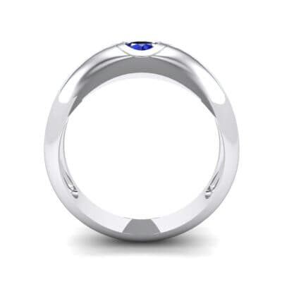 Rounded Two-Tone Burnish-Set Blue Sapphire Wedding Ring (0.38 CTW) Side View