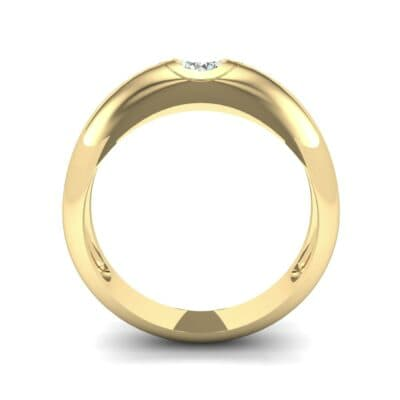 Rounded Two-Tone Burnish-Set Diamond Wedding Ring (0.28 CTW) Side View