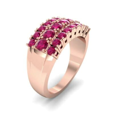 Tapered Three-Row Ruby Ring (1.58 Carat)