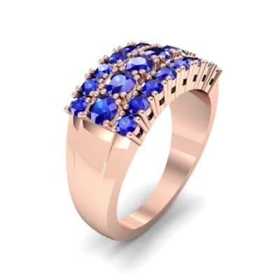 Tapered Three-Row Blue Sapphire Ring (1.58 Carat)